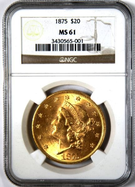 1875 $20 LIBERTY GOLD DOUBLE EAGLE COIN NGC MS61