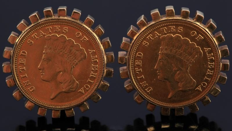 MENS 18KT YG CUFFLINKS WITH 2 US 1888 $3 GOLD COIN