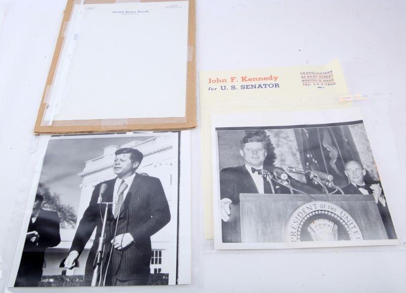 KENNEDY JFK LETTERHEAD WITH 1962 PRESS PHOTOS