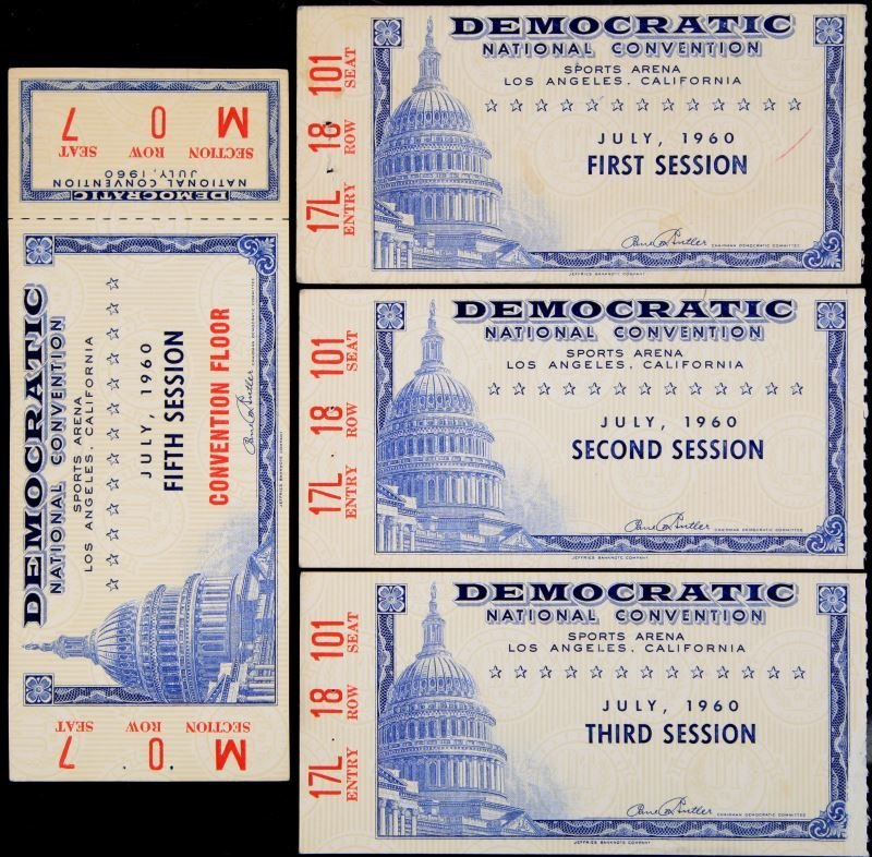 DEMOCRATIC NATIONAL CONVENTION 1960 TICKET LOT