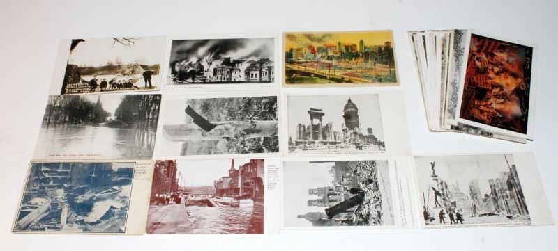 LOT OF 34 VINTAGE 1910's DISASTER POSTCARDS