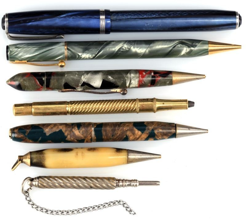 SEVEN MIXED PROPELLING PENCILS AND FOUNTAIN PENS