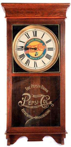 PEPSI COLA  ADVERTISMENT OAK CASE PENDULUM CLOCK