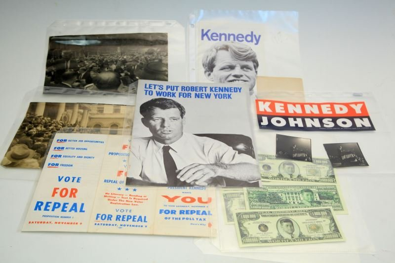KENNEDY JFK RFK ORIGINAL CAMPAIGN EPHEMERA & PHOTO