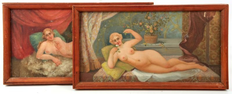 VICTORIAN RECLINING NUDE SALOON PAINTINGS LOT OF 2