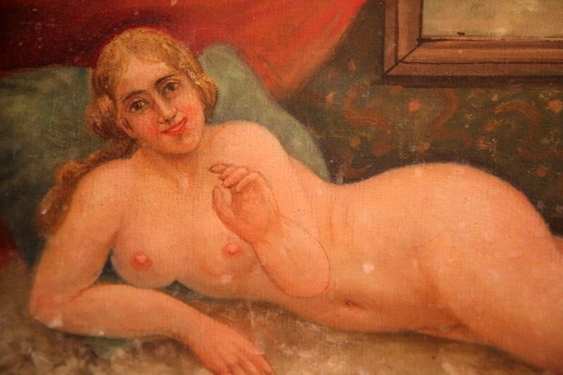 VICTORIAN RECLINING NUDE SALOON PAINTINGS LOT OF 2 - 2