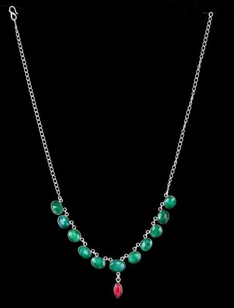LADIES 19 INCH STERLING EMERALD & RUBY NECKLACE