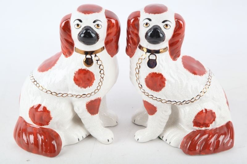 PAIR 20TH CENTURY STAFFORDSHIRE PORCELAIN DOGS