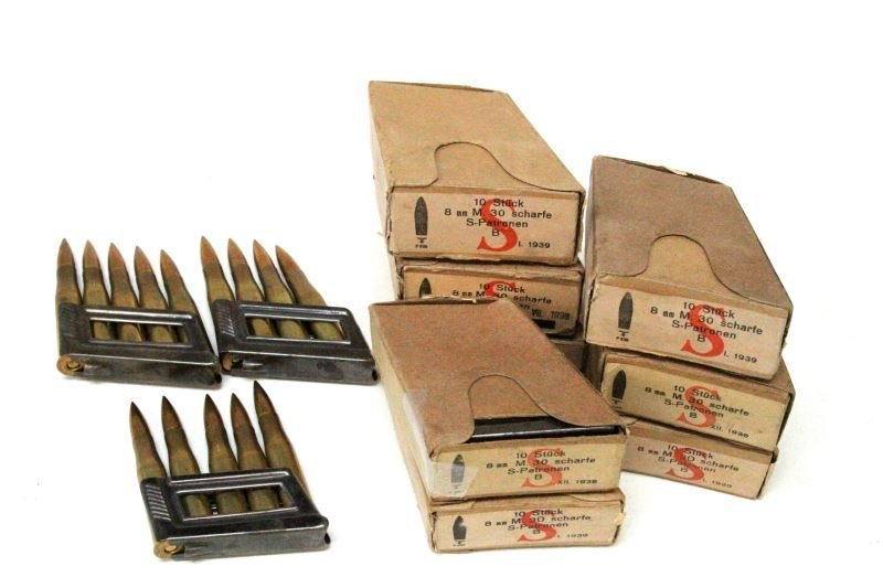 WWII GERMAN MAUSER 8MM CLIPS AMMO IN ORIGINAL BOX