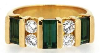 LADIES 18KT YG GREEN TOURMALINE AND DIAMOND RING