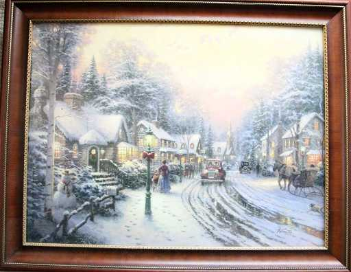 THOMAS KINKADE VILLAGE CHRISTMAS LITHOGRAPH