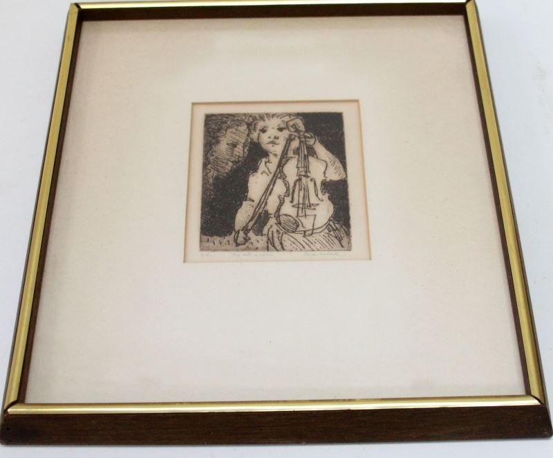 BOY WITH A VIOLIN BY ROSENHOUSE ETCHING 6/90