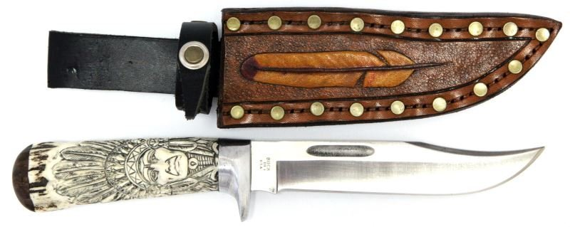 BUCK 119 FIXED BLADE KNIFE W CUSTOM STAG GRIP