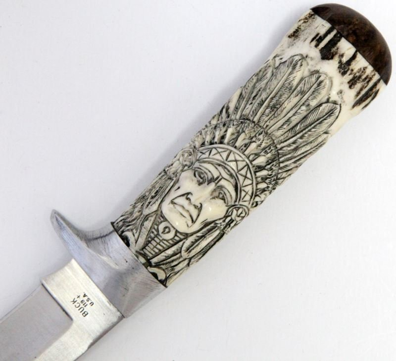 BUCK 119 FIXED BLADE KNIFE W CUSTOM STAG GRIP - 3