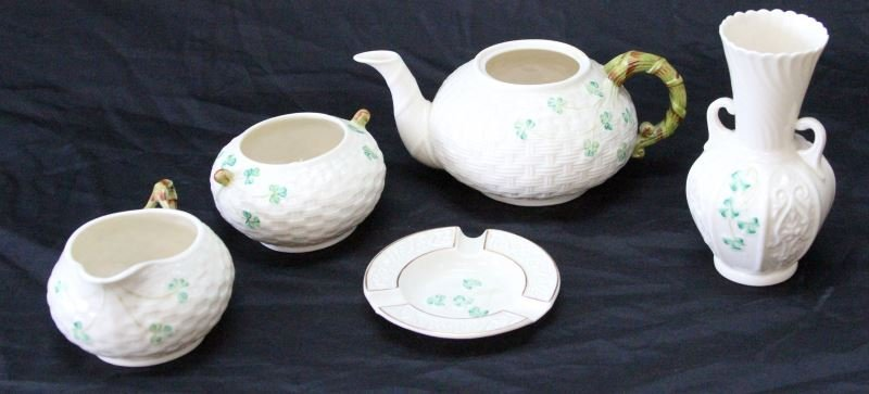 IRELAND BELLEEK POTTERY GREEN & BROWN MARKS 5 PC