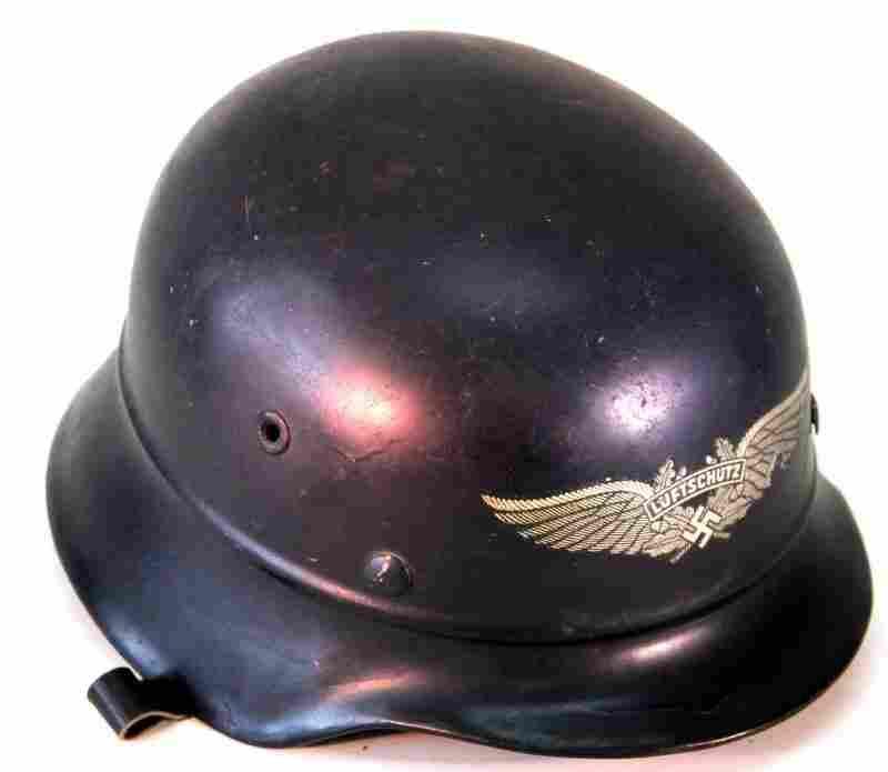 WWII GERMAN LUFTSCHUTZ BEADED M40 AIR RAID HELMET