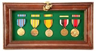WWII USMC MARINE MEDAL GROUP IN EGA FRAME