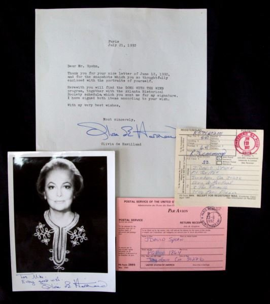 THREE SIGNED OLIVIA DE HAVILLAND PHOTO LETTER DOC