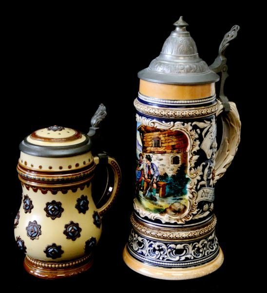 2 GERMAN VINTAGE STEIN LOT METTLAC HUNTER