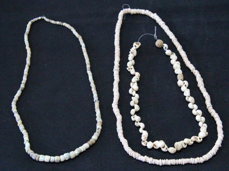 ANCIENT TRADE BEADS PRAYER SHELL STONE LOT OF 3