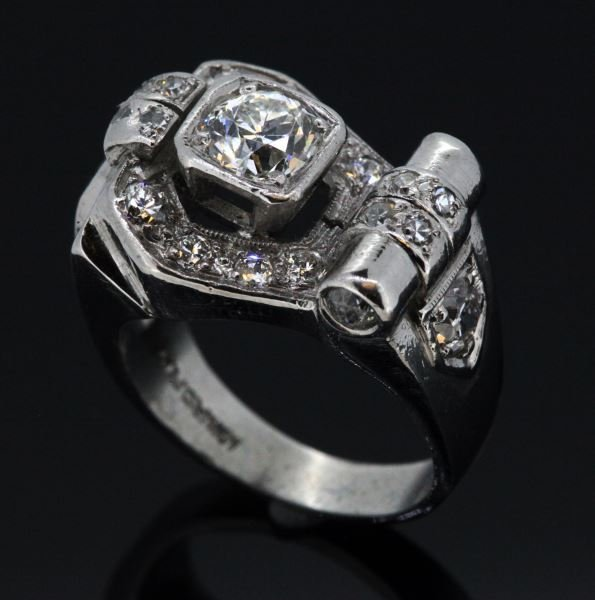 VINTAGE DECO LADIES PLATINUM DIAMOND RING 2CT TW