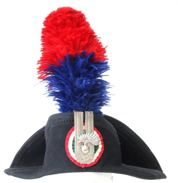 ITALIAN CARABINIERI HAT WITH PLUME AND CASE