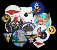 WWII LEATHER HANDPAINTED FLIGHT JACKET PATCH LOT