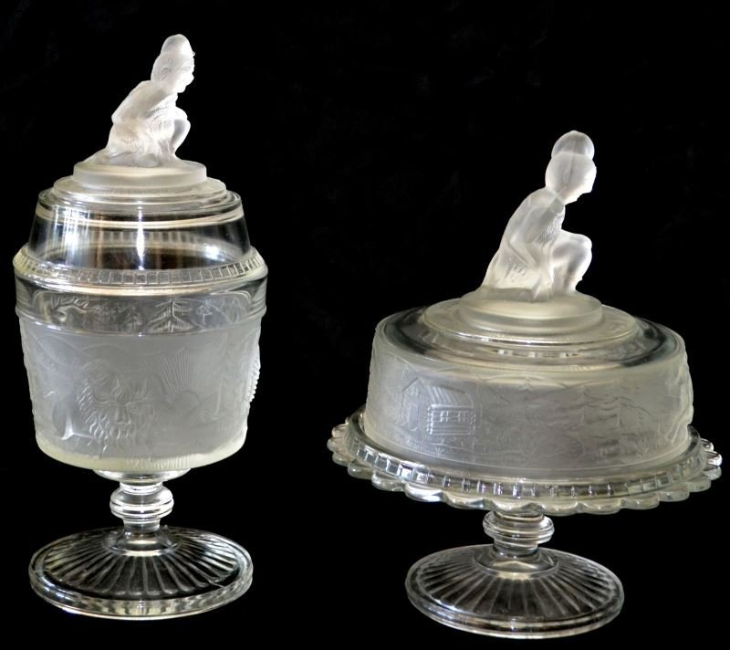 TWO COVERED WESTWARD HO SATIN GLASS WITH INDIANS