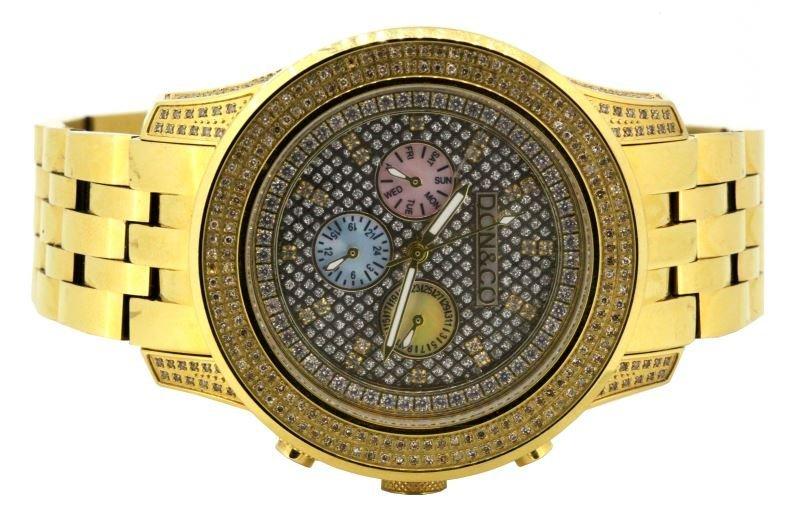 MENS DON & CO JO JO JR GOLD PLATE WATCH W/DIAMONDS
