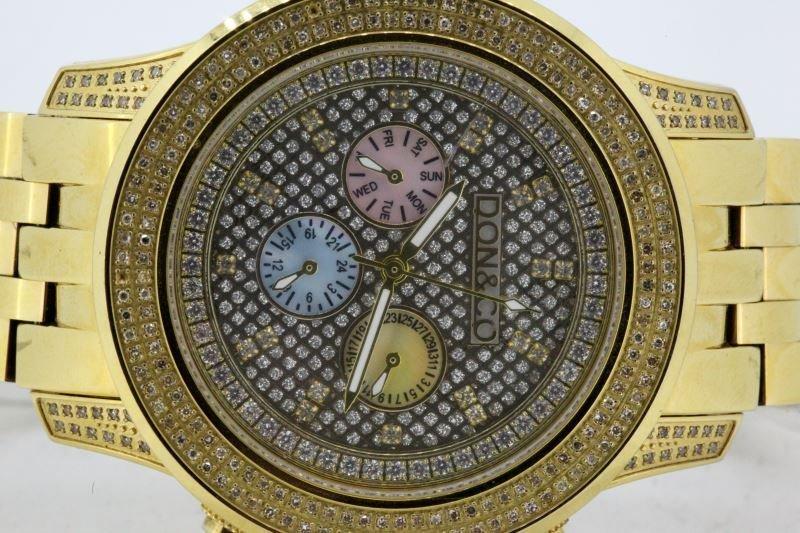 MENS DON & CO JO JO JR GOLD PLATE WATCH W/DIAMONDS - 2