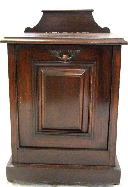 ANTIQUE COAL SCUTTLE OAK BOX WITH LINER & SHOVEL