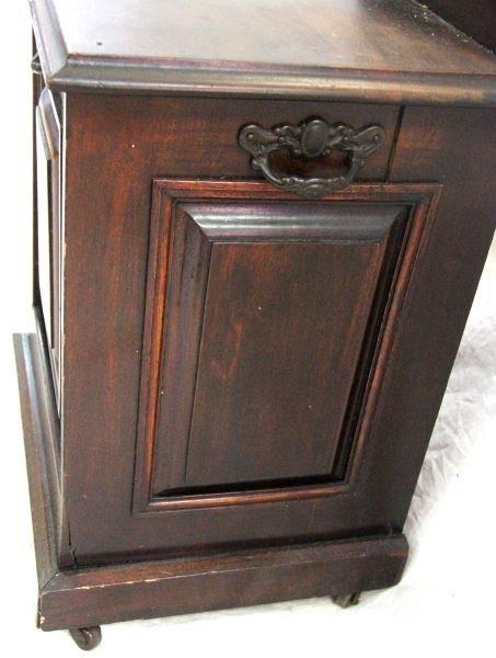 ANTIQUE COAL SCUTTLE OAK BOX WITH LINER & SHOVEL - 2