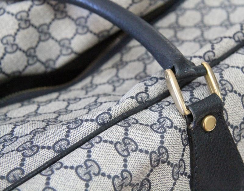 VINTAGE GUCCI DUFFLE BAG WITH GG MONOGRAM - 6