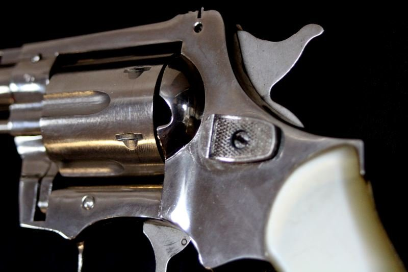 NICKEL PLATED .38 SPECIAL REVOLVER MADE IN GERMANY - 4