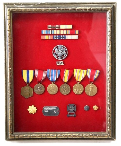 WWII OFFICER SHADOW BOX W MEDALS RIBBONS INSIGNIA