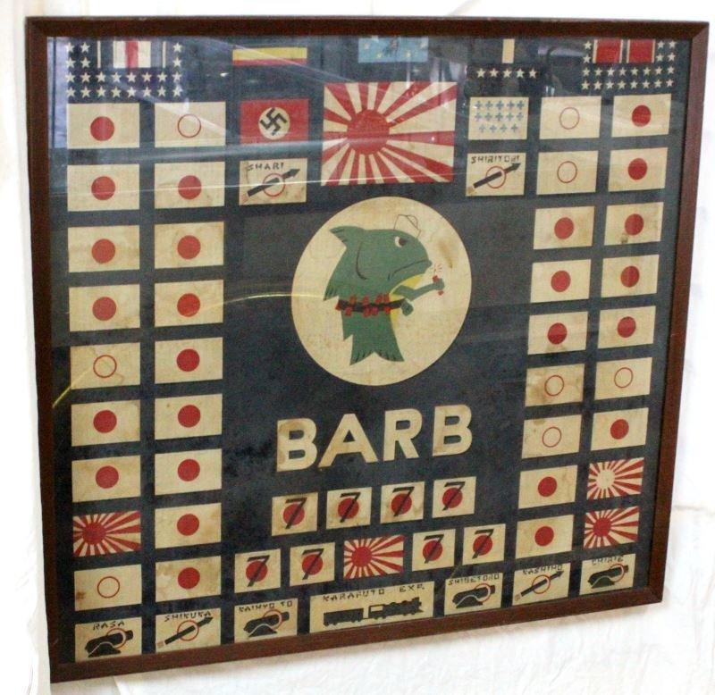 RARE WWII 1945 USS BARB SS-220 FRAMED BATTLE FLAG