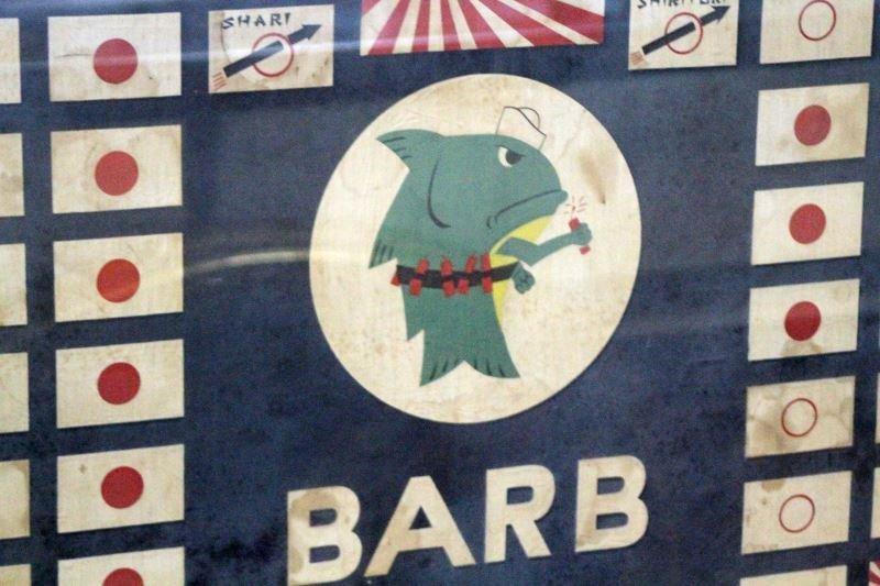 RARE WWII 1945 USS BARB SS-220 FRAMED BATTLE FLAG - 2