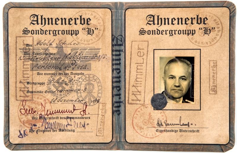 WWII GERMAN AHNENERBE SONDERGROUPP H ID PAPERS