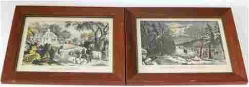 TWO FRAMED CURRIER  IVES CHROMOLITHOGRAPHS