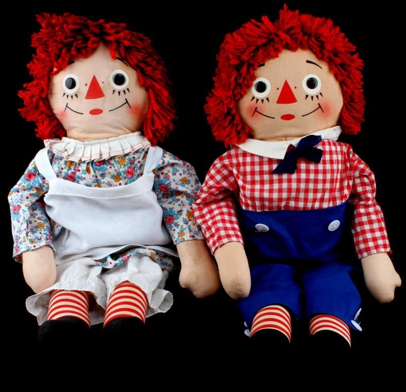 VINTAGE RAGGEDY ANN AND ANDY KNICKERBOCKER DOLLS