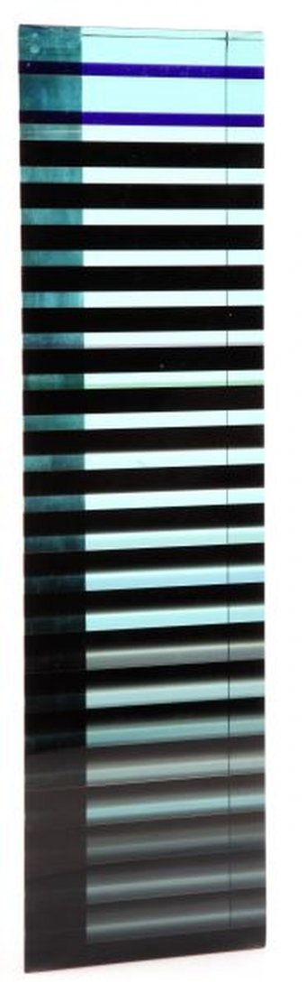 MODERN GLASS ART STATUE BY PATRICK CURTIS LAMINATE