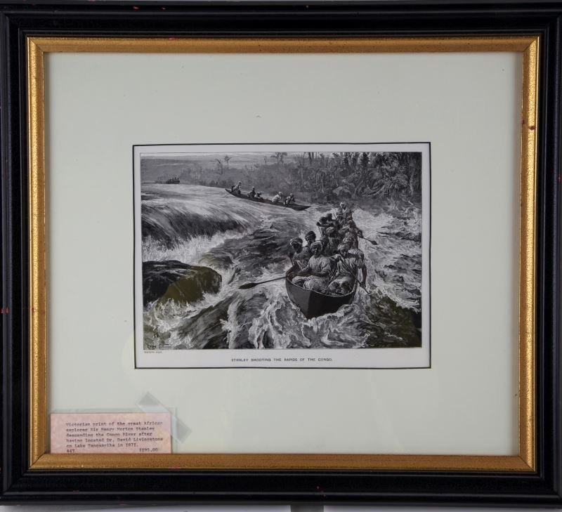 W. H. OVEREND PRINT STANLEY SHOOTING THE RAPIDS