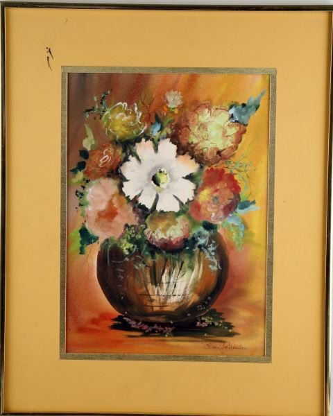 SIGNED WATERCOLOR PAINTING FLOWERS IN VASE