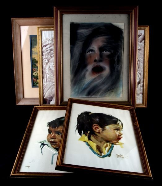 MIXED GROUP OF FRAMED ART WITH BETTINA STEINKE