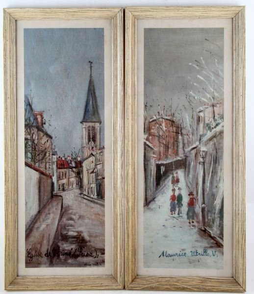 PAIR OF MAURICE UTRILLO PRINTS FRENCH CITYSCAPE