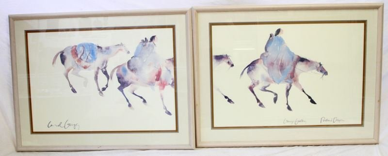 PAIR OF MATCHED WATER COLOR LITHOS BY CAROL GRIGG