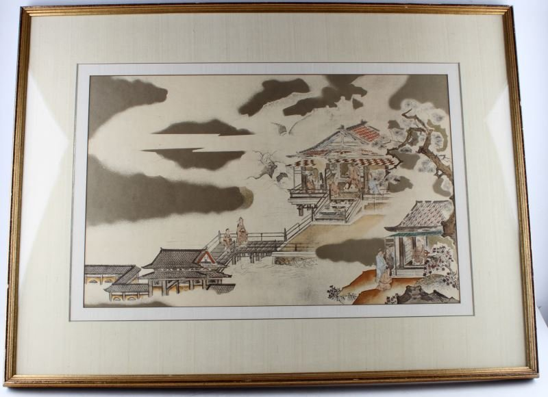 19TH CENTURY ASIAN WATER COLORED WOODBLOCK PRINT