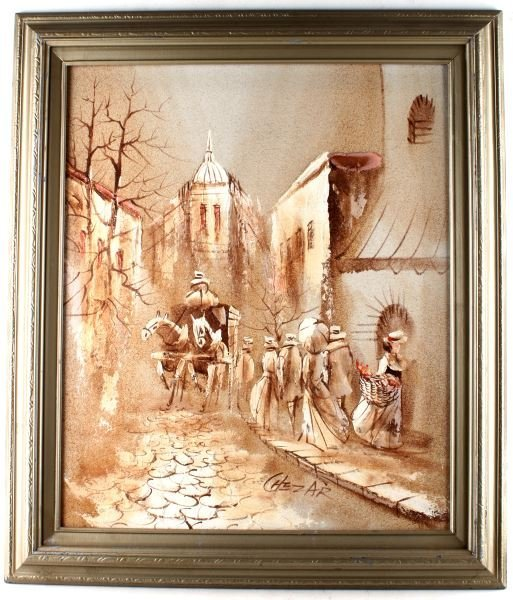 BORIS CHEZAR OIL & SAND ON CANVAS SIGNED PAINTING
