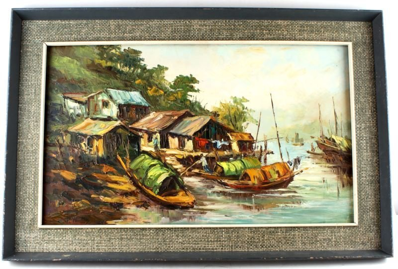 SIGNED ORIGINAL OIL ON CANVAS FISHING VILLAGE