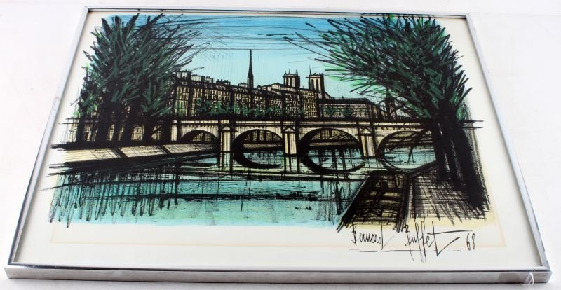 1968 BERNARD BUFFET PARISIAN BRIDGE LITHOGRAPH
